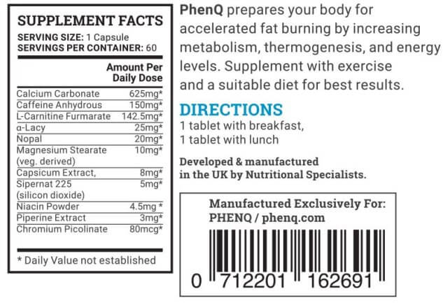 Image result for phenq ingredients