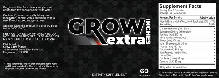 Grow Extra Inches Supplement-Ingredients