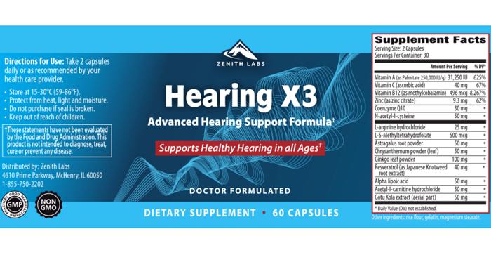Zenith Labs Hearing X3 Ingredients